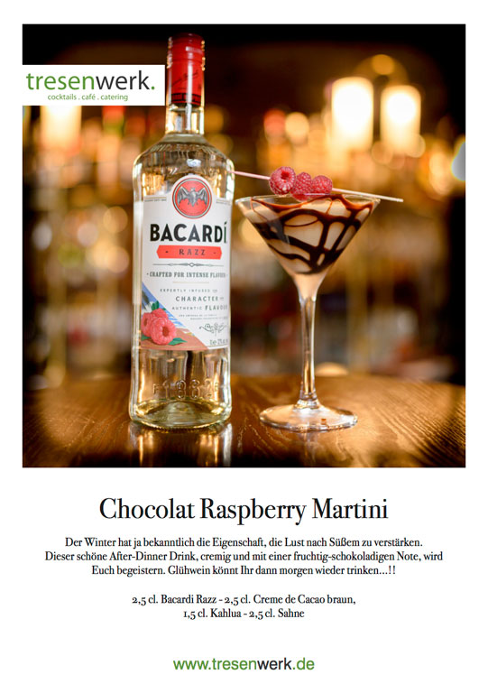 Chocolat-Raspberry-Martini Weihnachtscocktail