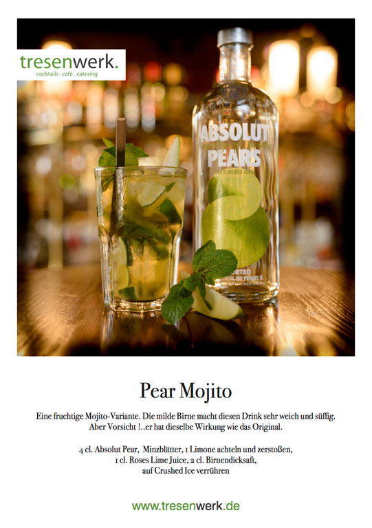Pear-Mojito Weihnachtscocktail